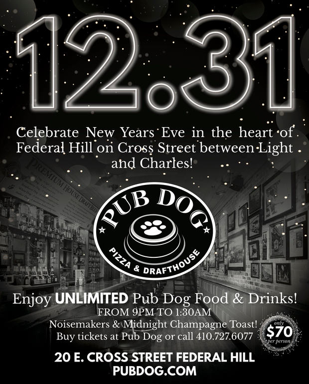 2019 Pub Dog New Years Eve Bash - Unlimited food and drinks - $70 per person